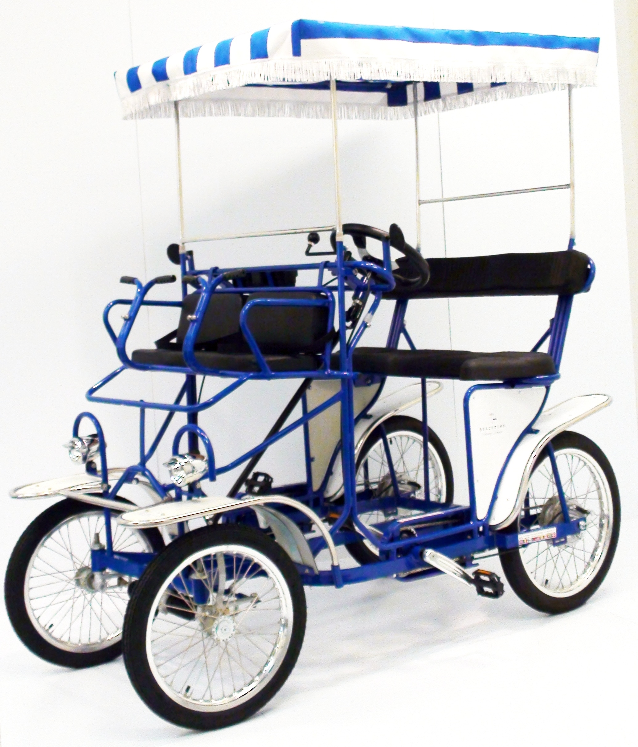 blue surrey four wheel 2 and 4 person surrey bikes beach cruisers electric assist. Black Bedroom Furniture Sets. Home Design Ideas